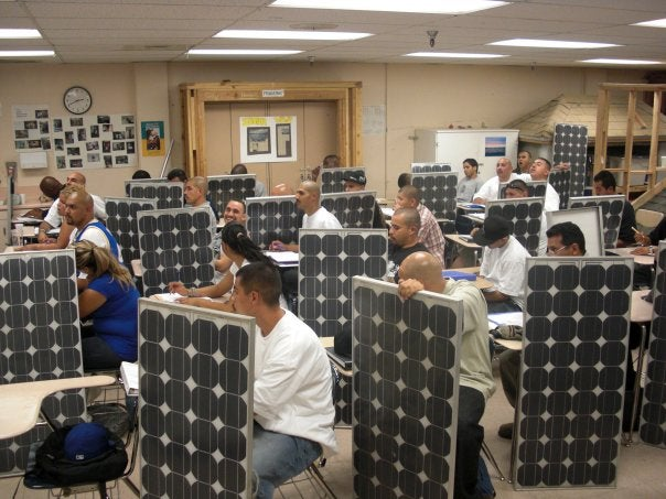 Homeboy Industries' PV training class. Courtesy Homeboy Industries' Facebook page.