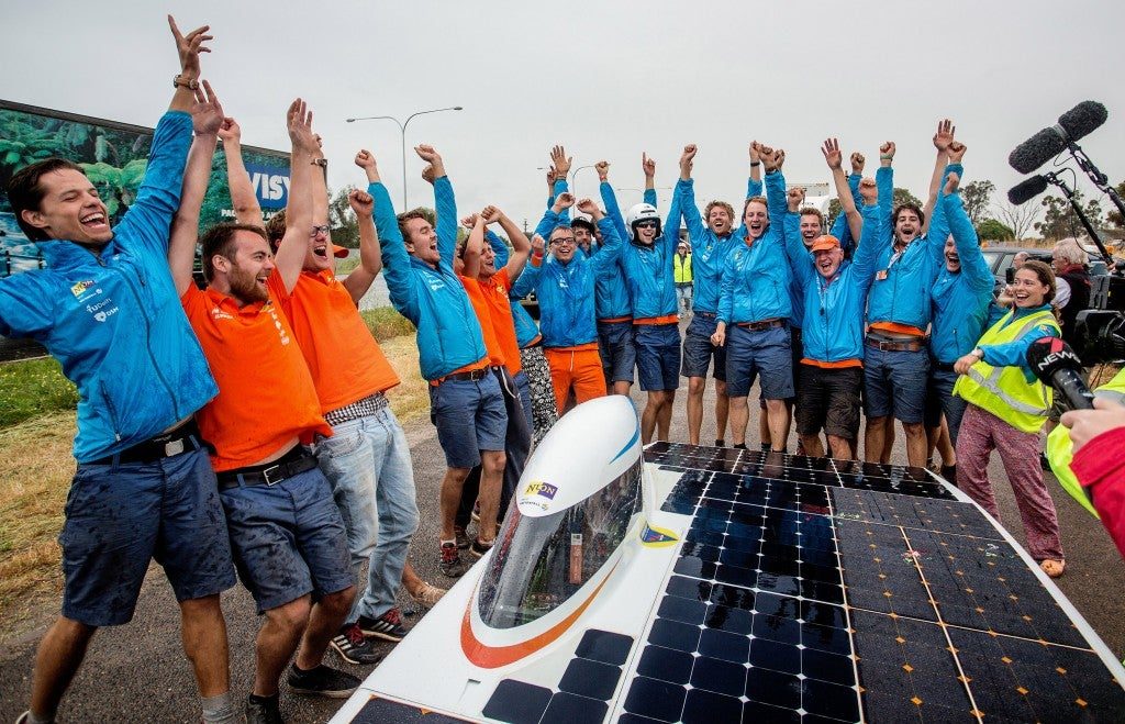 Team Nuon celebrates their win at the World Solar Challenge.