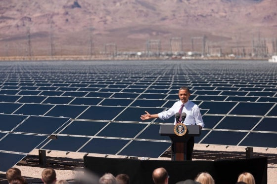 President Obama speaking at a solar farm