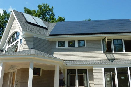 Solar on a home in Newton, Mass.
