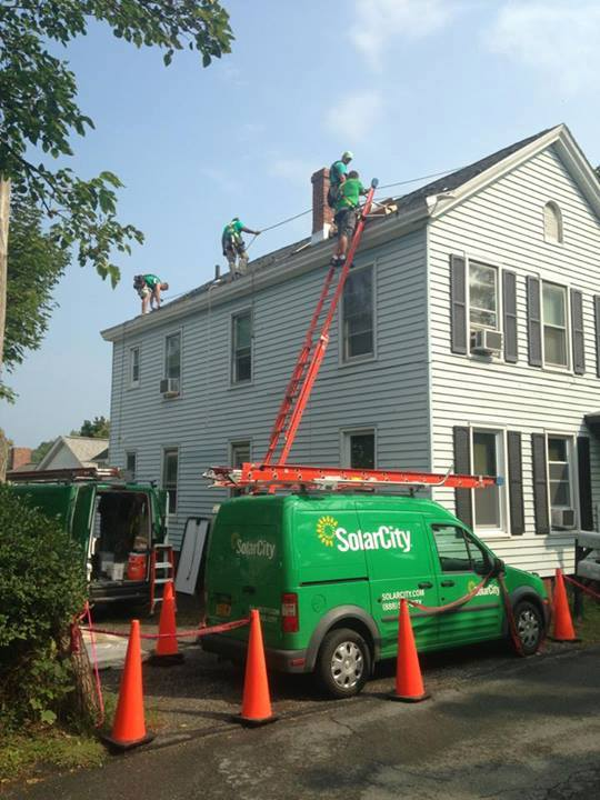 A SolarCity installation in progress