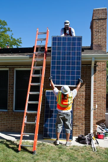 Installing solar on a home.