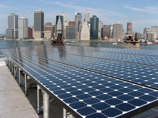 A solar array overlooking NYC