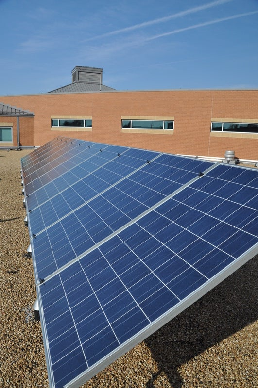 A solar array on a school. Courtesy of the National Solar Schools Consortium