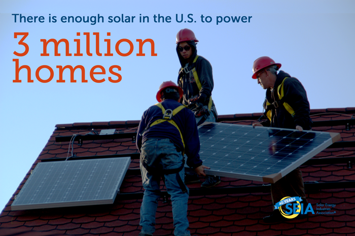 3 million solar homes. Courtesy SEIA.