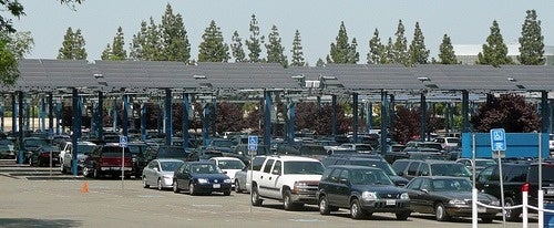 A solar carport with EV Charging stations in California. Courtesy NREL