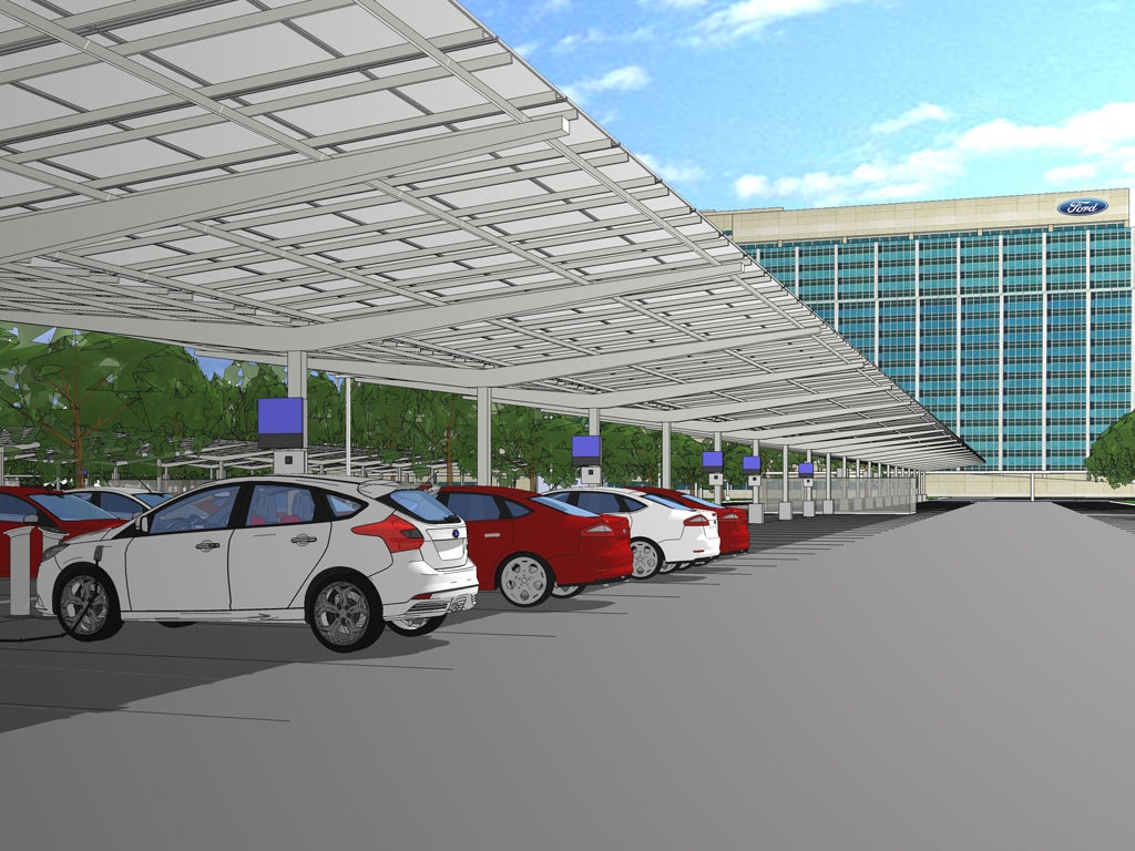 Ford's solar canopy mockup. Courtesy Ford