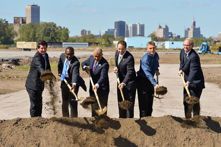 Cuomo breaking ground on SolarCity's GigaFactory. Courtesy Cuomo's Facebook page