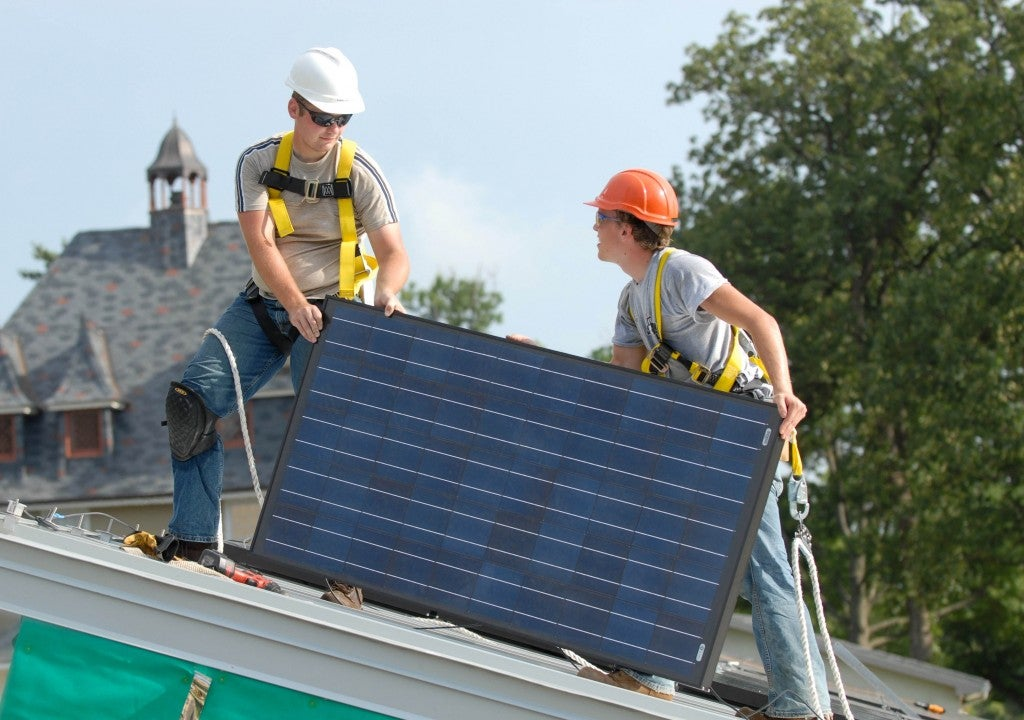 Installing solar on a home. Courtesy Mosaic's blog