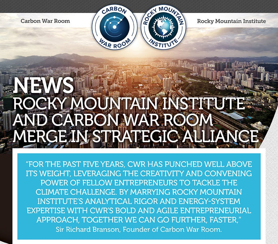Carbon War Room, Rocky Mountain Institute merge. Courtesy CWR