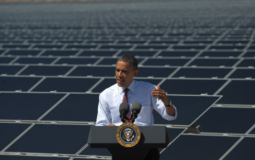Obama at a solar field