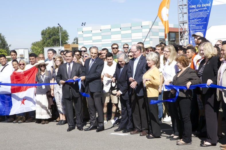 Moniz at the opening ceremony for the Solar Decathlon 2015. Courtesy DOE