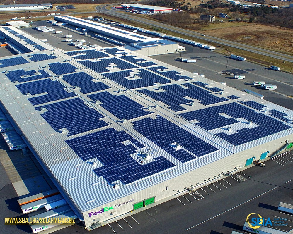 A FedEx solar installation. Courtesy SEIA