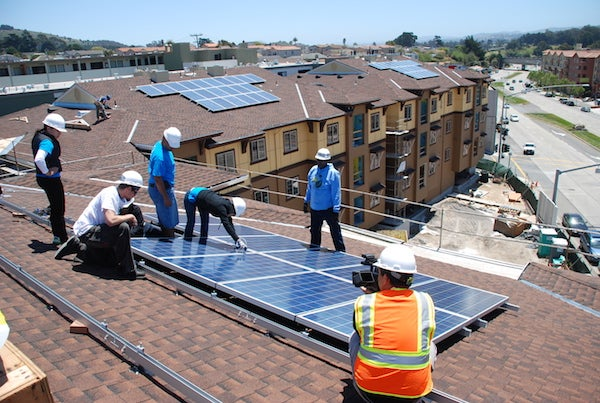Solar installed on multifamily units. Courtesy Low-Income Solar Policy Guide