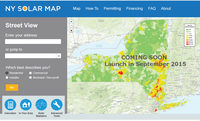 A preview of the NY Solar Map. Courtesy SUNY