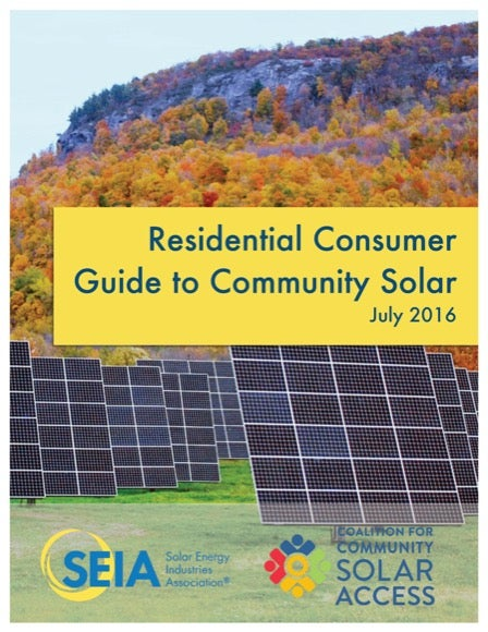Cover of Community Solar Consumer Guide. Courtesy SEIA