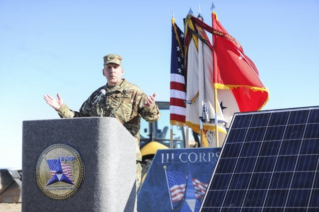 Military official speaks at announcement of Ft. Hood solar project. Courtesy Army