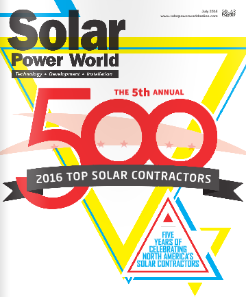 July 2016 Cover of Solar Power World. Courtesy Solar Power World