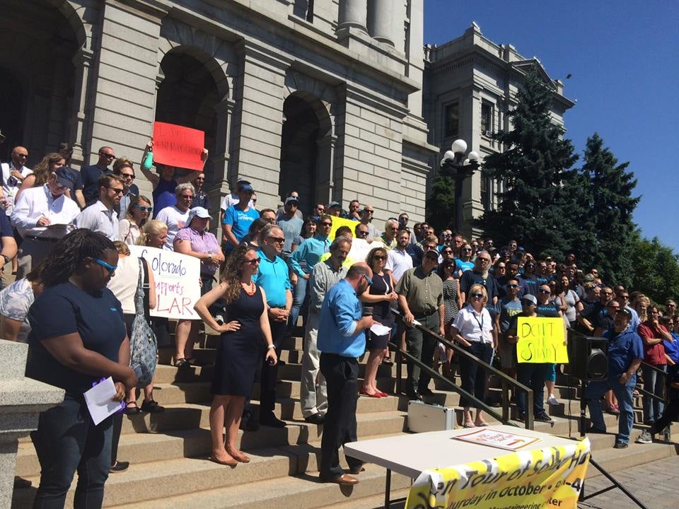 A COSIEA protest at Colorado's Capitol. Courtesy COSEIA