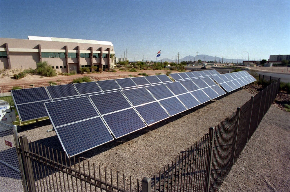 A solar installation in Nevada. Courtesy NREL