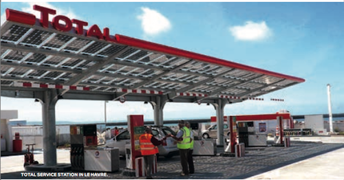A Total gas station with solar panels. Excerpted from a Total report