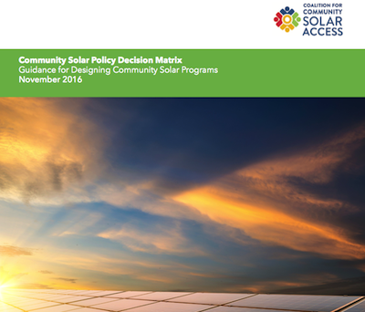 Community Solar Policy Decision Matrix guide cover. Excerpt from CCSA's cover