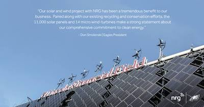 NRG's hybrid wind/solar installation at Lincoln Financial Field. Courtesy NRG