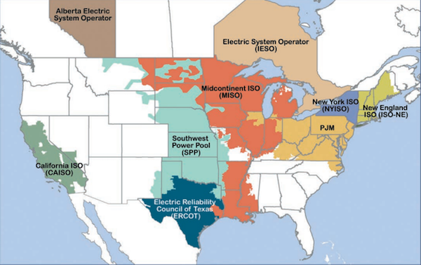 FERC's wholesale market map. Courtesy FERC