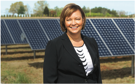 Lisa Jackson at an Apple solar farm. Excerpted from Apple sustainability report