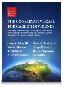 Cover for The Conservative Case for Carbon Dividends. Courtesy Climate Leadership Council
