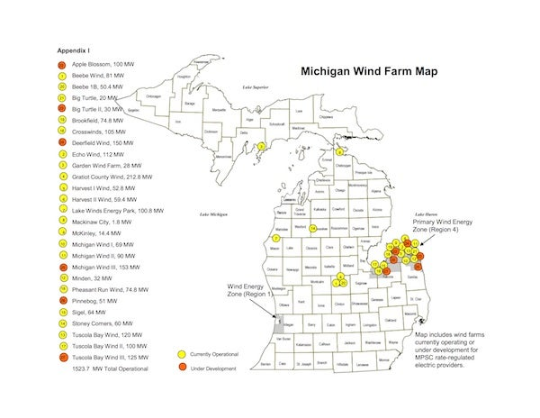 Michigan's Wind Farm Map. Courtesy MPSC