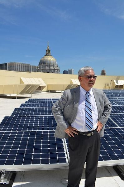 San Fran Mayor Lee on a solar roof. Courtesy Mayor's FB page
