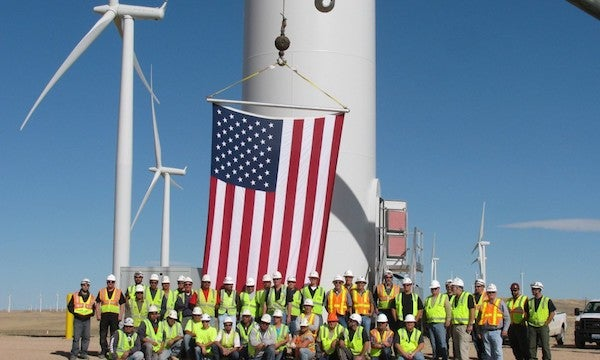 Workers at a wind farm. Courtesy AWEA