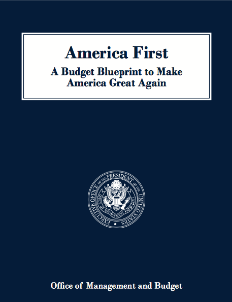 America First budget proposal cover. Courtesy White House