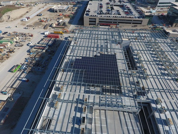 Installing solar at Toyota's new US HQ. Courtesy SunPower