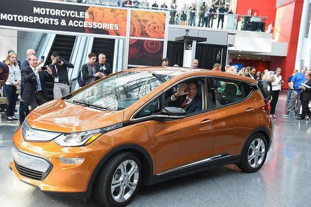 Andrew Cuomo in a Chevy Bolt EV. Courtesy Cuomo's office