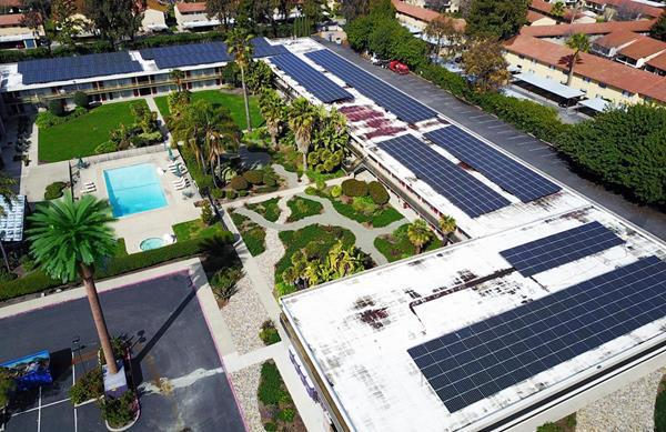 Solar array at Ramada Silicon Valley. Courtesy Sky Solar Power