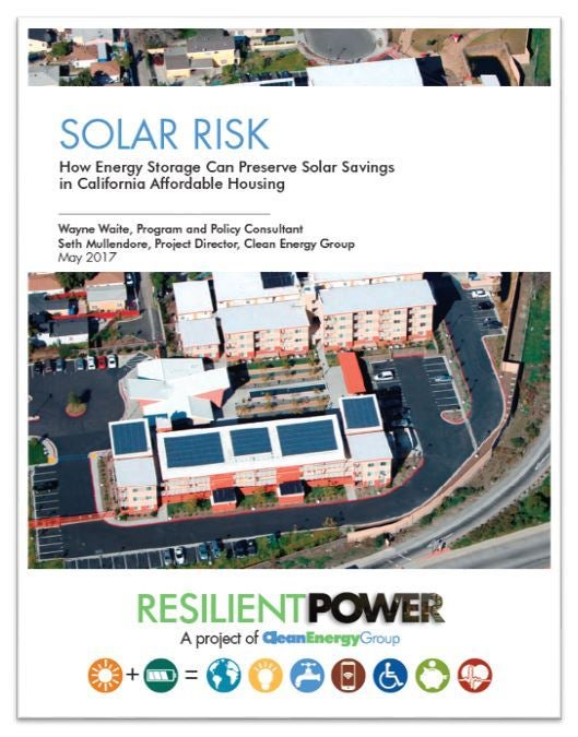 Clean Energy Group's Solar Risk cover. Courtesy Clean Energy Group