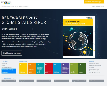 Renewables Status Report 2017 Microsite Cover. Courtesy REN 21