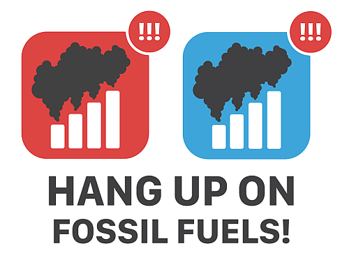 Hang up on Fossil Fuels banner. Courtesy Green America