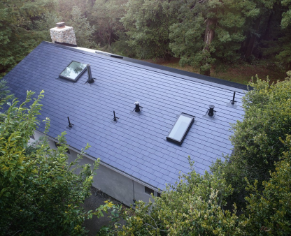 Tesla's first solar roof installation. Courtesy Tesla