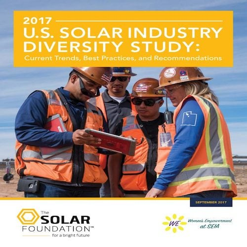 Cover of the  2017US Solar Industry Diversity Study. Courtesy of the Solar Foundation.