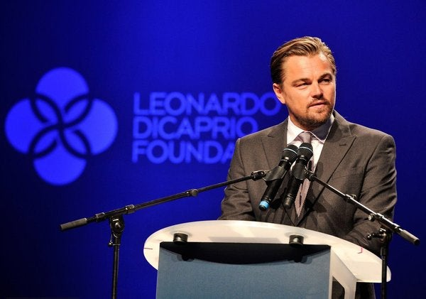 Leonardo DiCaprio speaking at his foundation. Courtesy Leonardo DiCaprio Foundation