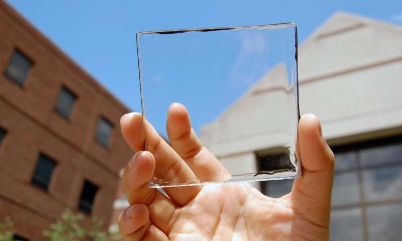 Michigan State University's transparent solar device. Courtesy MSU