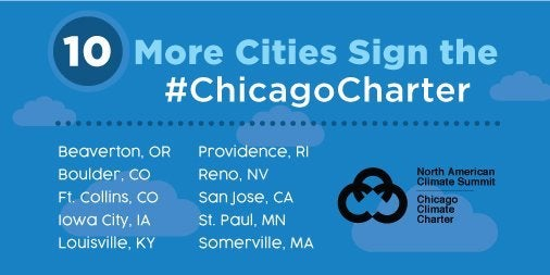 Chicago Climate Charter banner. Courtesy Chicago Mayor's Office
