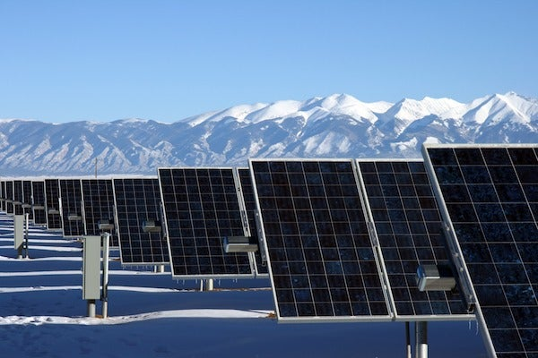A solar farm in the winter. Courtesy NREL