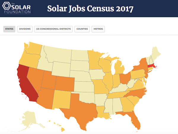 Solar Foundation Introduces Interactive Solar Jobs Map Showing