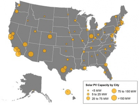 Environment America's Shining Cities Map 2018. Courtesy Environment America