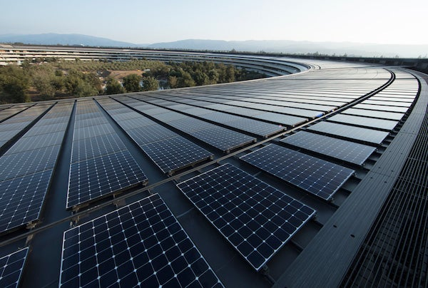 Solar panels at Apple's headquarters. Courtesy Apple