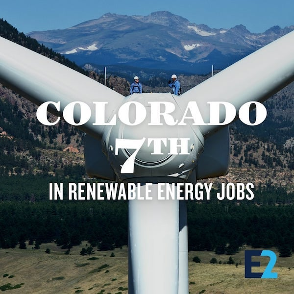 Colorado 7th in country for renewable energy. Courtesy E2